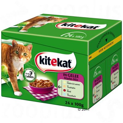 Kitekat Variety Pouches 24 x 100 g - Butcher Mix in Jelly