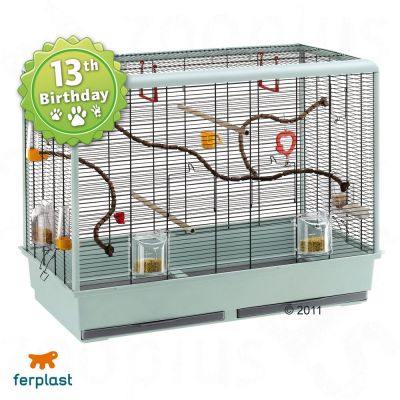 Ferplast Bird Cage Piano 6 for Budgies - Base granite, bars black