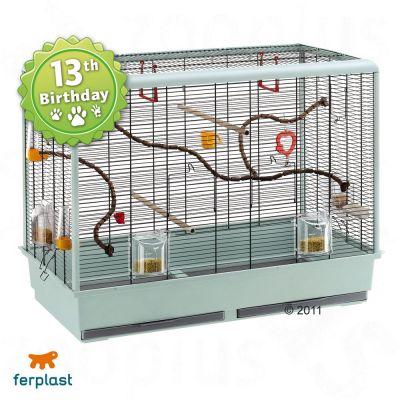 Ferplast Bird Cage Piano 6 for Budgies - Base granite, bars black