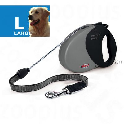 Dog Lead Flexi Comfort Long Large - 8 m - black (grey handle)