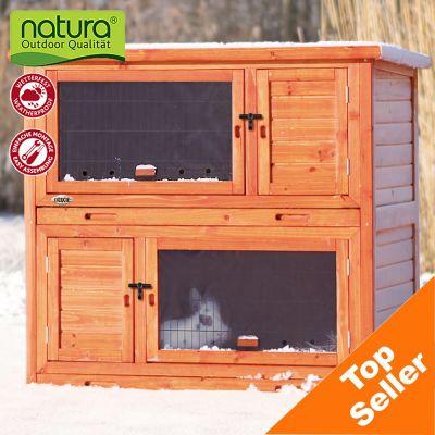 Clapier Natura 2 en 1 avec isolation thermique pour lapin - clapier (sans enclos) : L 116 x l 65 x H 113 cm