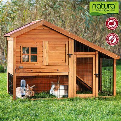 Clapier Natura Luxus, petit modele pour rongeur et lapin - clapier (avec enclos) : L 151 x l 80 x H 107 cm