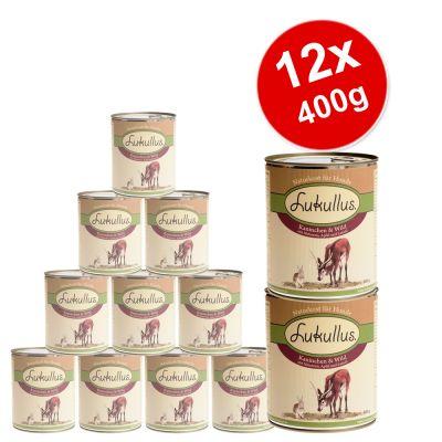 12 x 400 g Lukullus - Value Pack - Wild Rabbit & Turkey