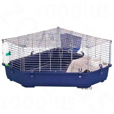Corner cage Single Corner for small pets - blue: 112 x 80 x 40 cm (L x W x H)