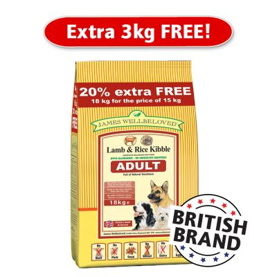 James Wellbeloved Extra Fill Bags 15 kg + 3 kg Free - Lamb & Rice Adult 18 kg