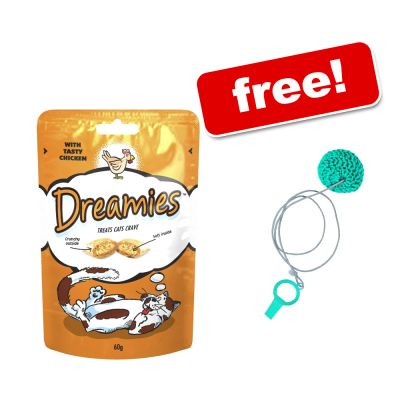 5 x 60g Dreamies Cat Treats + Cat Dangler Toy Free! - with Salmon & Cheese