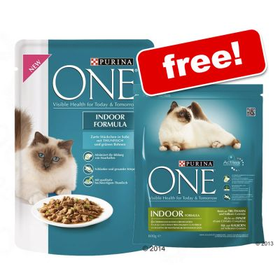 24 x 85g Purina One Pouches + 800g Dry Food Free!* - Indoor Formula with Tuna & Green Beans
