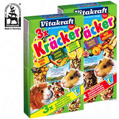 Vitakraft Guinea Pig Cracker Multipack - 3 x 3 Pack Combo (Honey, Vegetables, Citrus)