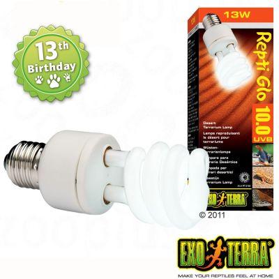 Hagen Exo Terra Repti Glo 10.0 Desert Terrarium Lamp - 26 Watt, Measurements: H 19.3 cm x W 6.3 cm x D 6.2 cm