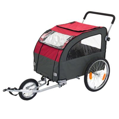 Bike Trailer for Dogs Globetrotter + Jogging Kit - 162 x 81 x 104 cm (L x W x H) / up to 40 kg - incl. Jogging Kit