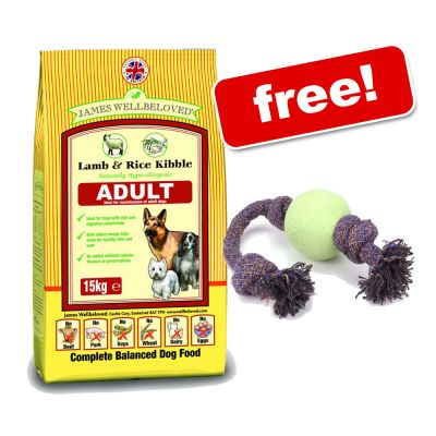 15kg James Wellbeloved Dog Food + BecoBall on Rope Free!* - Adult Duck & Rice (15kg)