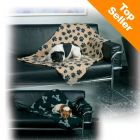 Trixie Beany Fleece Blanket - beige with black paw prints