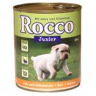 Rocco Junior 6 x 800 g - Poultry, Game, Rice & Calcium