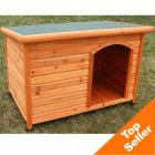 Flat Roof Dog Kennel Woody - L: 116 x 79 x 82cm (L x W x H)