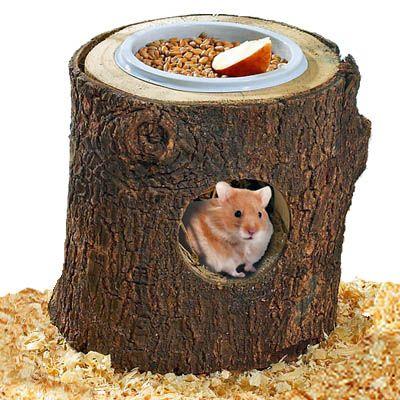 Niche Wonderland en bois naturel avec ecuelle pour rongeur - H 13 cm, 13 cm de diametre