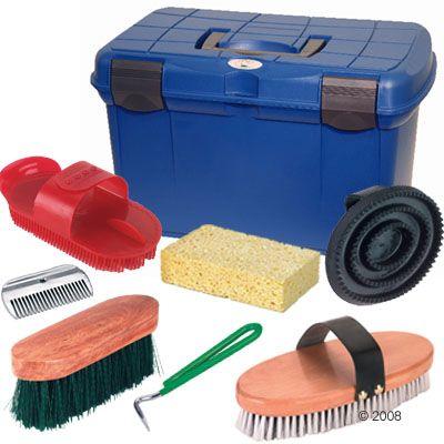 Coffre de pansage + kit de 7 accessoires d´entretien- kit de pansage (7 accessoires)