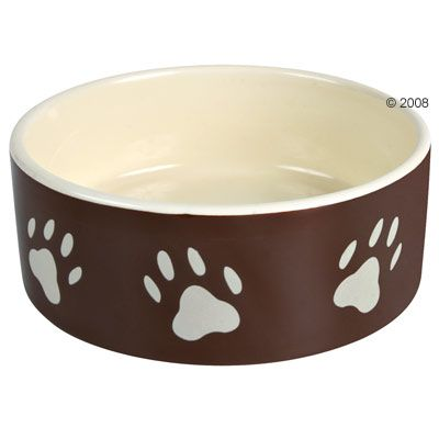 Trixie Brown Ceramic Bowl with Paw Prints - 0.3 litre