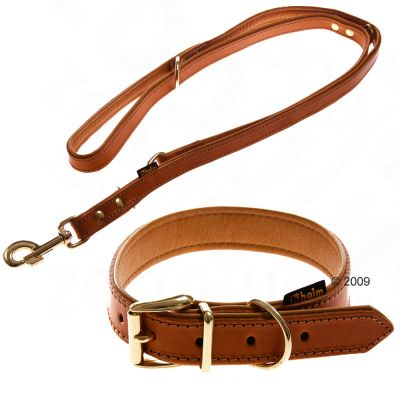 Leather Collar & Lead Buffalo, Cognac - Collar Size 55 + Lead 200 cm