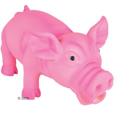 Trixie Dog Toy Oinking Latex Pig - Medium: Pink