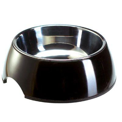 Melamine Pet Bowl Black with Stainless Steel Insert - 0.16 l, Ø 11 cm, H 4.5 cm