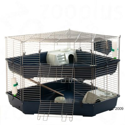 Double Corner Cage for Small Pets, 2-storied - Base Dark Blue