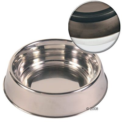 Trixie Stainless Steel Bowl with Rubber Base Ring - 1.8 l, Ø 22 cm