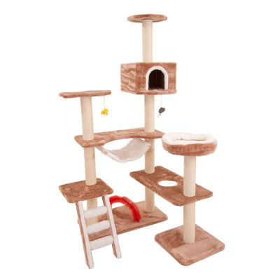 Cat Tree Gingerbread House - brown / white