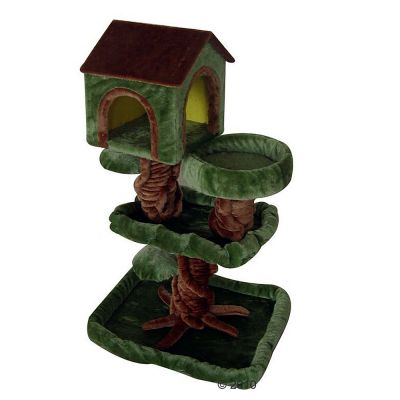 Cat Tree Robin Wood - dark-green / brown