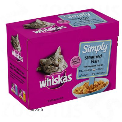 Whiskas Pouch Simply 12 x 85 g - Steamed Fish