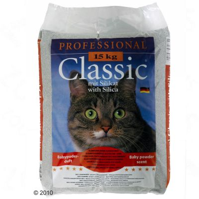 Professional Classic Cat Litter with Baby Powder Scent - 15 kg