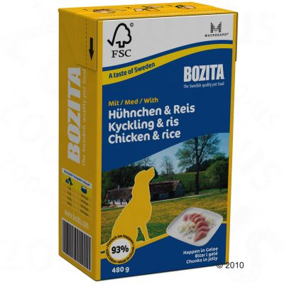 Bozita Chunks in Jelly 6 x 480 g - Chicken & Rice