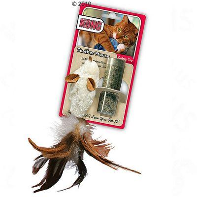 Jouet pour chat avec menthe à chat Kong Feather Mouse- 1 souris