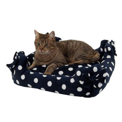 Cat Bed with Polka Dots, Dark Blue - 45 x 45 x 15 cm (L x W x H)