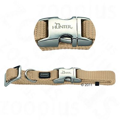 Hunter Nylon Collar Vario Basic Alu-Strong, beige - Size. M: 40 - 55 cm Neck Circumference