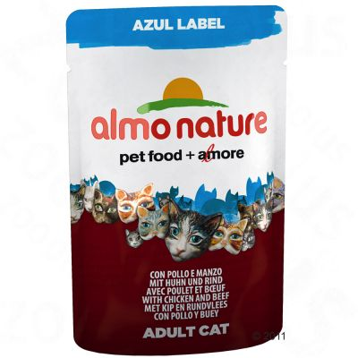 Almo Nature Azul Label in Pouches 6 x 70 g - Chicken & Sardines