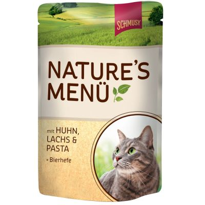 Schmusy Nature's Menu in Pouches 12 x 100 g - Chicken, Salmon, Pasta & Brewer's Yeast