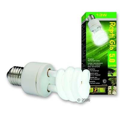 Hagen Exo Terra Repti Glo 5.0 Compact Lamp - 13 Watt, Measurements: H 15.4 cm x W 4.8 cm x D 4.8 cm