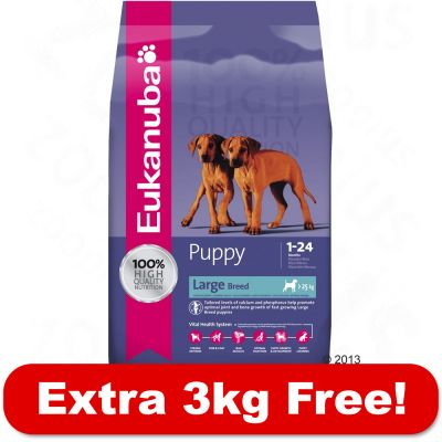 15kg Eukanuba Puppy Dry Food + 3kg Free!* - Large Breed (18kg)