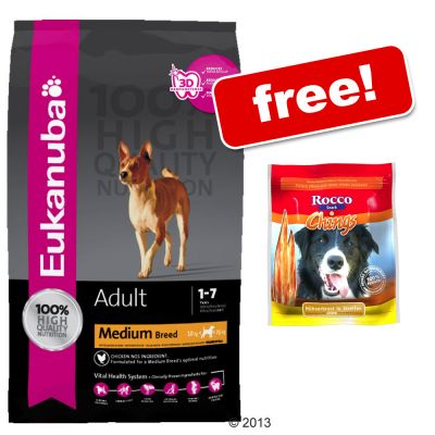 Eukanuba Dry Food + Rocco Chings Chicken Strips Free!* - Adult Small & Medium Breed Lamb & Rice (12kg)