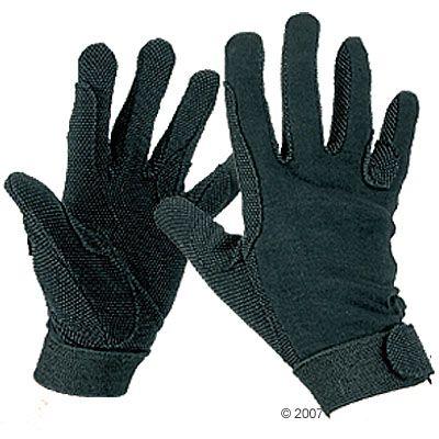 Gants d´équitation noirs en jersey de coton- L