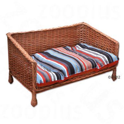 Wicker Dog Basket Sofa with striped Cushion - 80 x 50 x 43 cm (L x W x H)