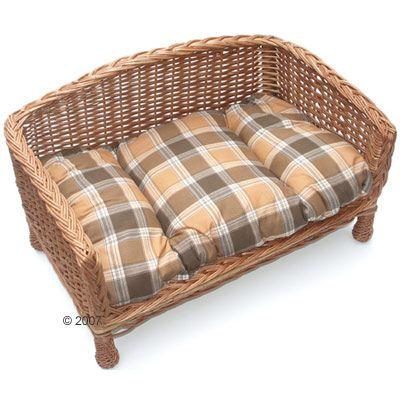 Wicker Dog Basket Sofa with Plaid Beige Cushion - 80 x 50 x 43 cm (L x W x H)