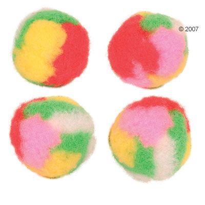 Trixie Pompom Balls with Catnip - multi-coloured 12 balls