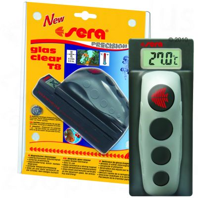 Sera Glass Clear Algae Magnet with Digital Thermometer - T 12