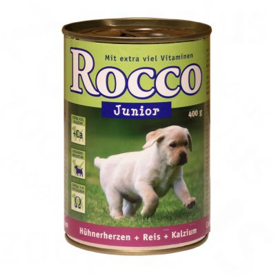 Rocco Junior 6 x 400g - Chicken Hearts, Rice & Calcium