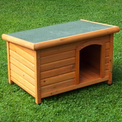 Flat Roof Dog Kennel Woody - L 116 x 79 x 82cm (L x W x H)