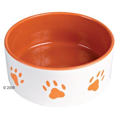 Trixie Ceramic Bowl with Orange Paw Prints - 1.4 l / Ø 20 cm