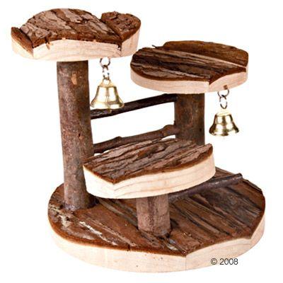 Arbre a grimper en bois naturel pour hamster - L 15 x l 14 x H 14 cm