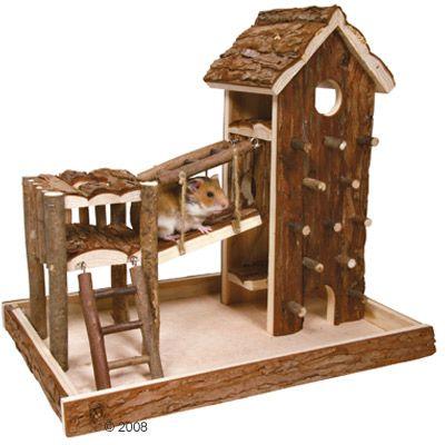 Aire de jeu Birger en bois naturel pour rongeur - L 36 x l 33 x H 26 cm