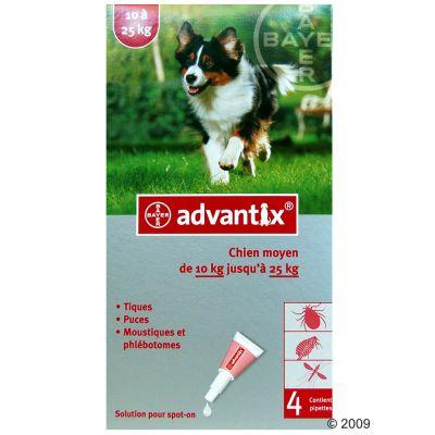 Advantix pour chien de taille moyenne - 10/25 kg- 4 pipettes